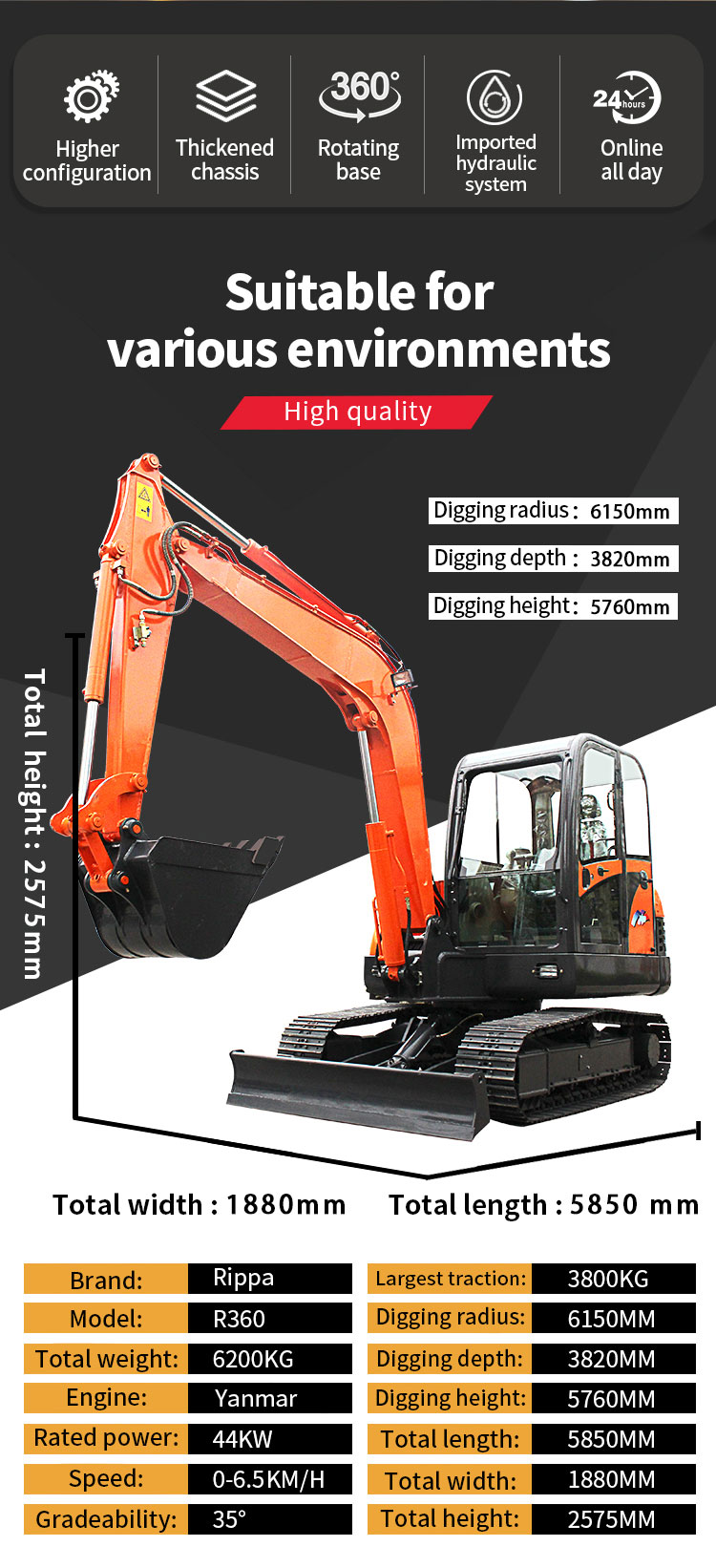 R360 small agricultural orchard excavator