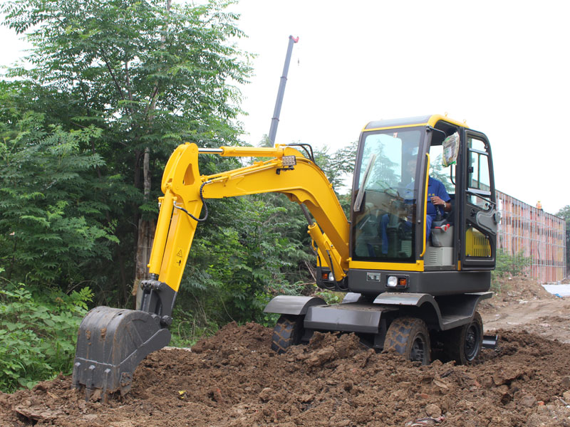 R355 excavation construction with wheeled mini excavator